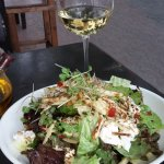 A fabulous fresh goat cheese salad with sliced apple