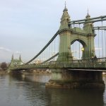 The view along the River Thames by the Hammersmith bridge.