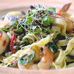 Shrimp Linguine - KW pink shrimp, lemon chili aiol, baby arugula, capers