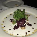 Truffle fries and beet and goat cheeses salad