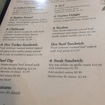 Menu options, Trees Restaurant 1385 Alberni Hwy, Parksville, British Columbia