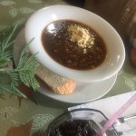 Beef Barley soup of the day bowl, Trees Restaurant 1385 Alberni Hwy, Parksville, British Columbi