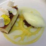White chocolate Cheesecake with orange puree and lemon sorbet
