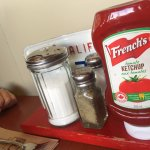 Table amenities, and Frenchs Ketchup! Plates Eatery & Catering Co, 2601 Cliffe Ave, Courtenay, B