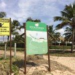 Placa na praia em frente