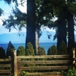 view of the water from our chair in the pub, Crown & Anchor, 6120 Island Hwy W, Qualicum Beach,