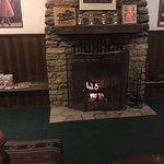 Lobby fireplace,real wood