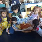 Sasha dolls enjoying their lunch after a morning of thrift store shopping at Beyond Bread