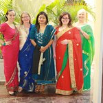 Our group ready for an evening on the town. Getting a saree is a must do experience!