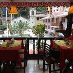 Table beside balcony