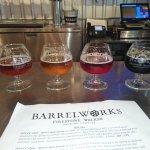 Flight of 4 beers at Barrelworks, Firestone Walker