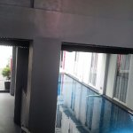 pool area can be seen from receptionist area