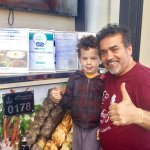 Jamal with my son , who is ' crazy ' about his kebabs