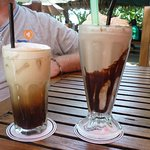 Chocolate milkshake and iced coffee