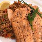 Grilled salmon with quinoa risotto