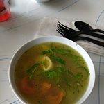 Salad, tortellini soup, panini