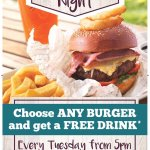 Free drink with a burger every Tuesday