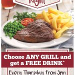 Free drink with any grill order every Thursday