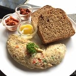 Sri lankan Omelette fiesta opt with brown bread with additions