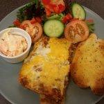 Homemade Lasenge, Garlic bread and salad