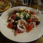 Salad with salami.
