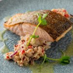 Clare Island Organic Salmon on a bed of Fastnet Rock crab salsa