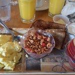 American Breakfast at Art Cafe in Nycack - eggs, toast, yogurt, granola, fresh fruit