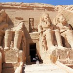At entrance of the Temple of Ramses II at Abu Simbel