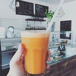 Freshly squeezed carrot, apple and ginger juice