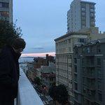 Exploring the rooftop garden. Views of street from the roof top garden. Panoramic views from a k