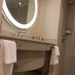 Big mirror in bathroom.