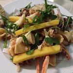 fritto di pesce con polenta e rucola!