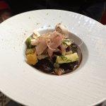 Effilochée de lièvre, royale au foie gras et émulsion au café