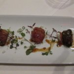 Dates, Dried Plums and Apricot bound by bacon with Soy Ginger Glaze