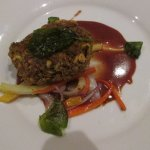 Pistachio-Crusted Pork Noisettes with Roasted Root Vegetables and Black Cherry Demi-Glaze