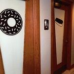The bathroom doors are unique.