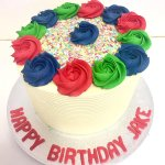 A Red Blue & Green Rainbow Cake