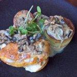 corn-fed chicken breast, porcini mushroom sauce, chestnut stuffing and fondant potato