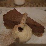 Chocolate cheesecake/torte with coffee ice cream