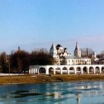 View across the Volhov River at the Yaroslav Courtyard, Novgorod, Russia
