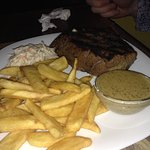 Fillet steak with chips and coleslaw