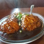 Jumbo shrimp egg foo young in a tasty brown sauce!