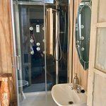 small bathroom but with a great shower!!