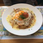 Hash browns( rosti with cheese and fried eggs)