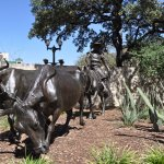 Outdoor sculpture at Briscoe Art Museum