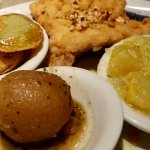 Snapper Amandine with Fried Green Tomatoes; Yellow Squash & Greek Potato