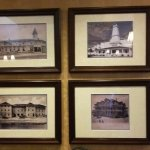 Photos of old hotels in the lobby area.
