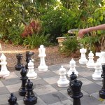 Playing chess on the hotel grounds