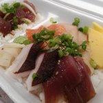 Chirashi and wasabi poke combo