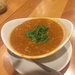 Nourishing, tomato based lentil and chickpea soup